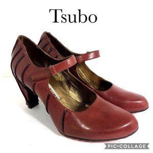 Tsubo brown heels with hook and loop strap 8